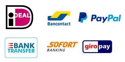 Betaalmethode logo ideal GiroPay Bancontact Sofort PayPal BankTransfer