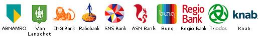 Betaalbanken iDeal ABNAMRO VanLanschot INGBank Rabobank SNSBank ASNBank Bunq RegioBank Triodos Knab