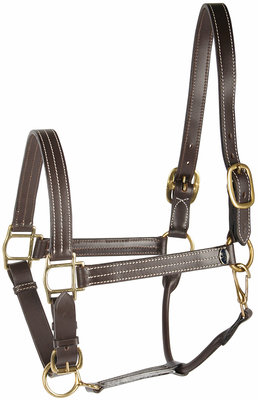 Harry's Horse Halster leder, de luxe, dubbele gesp
